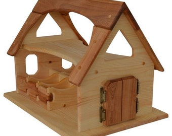 Natural Wooden Toy Stable-Sam's Stable Deluxe-Waldorf Wooden Stable- Toy Barn-Wooden Barn-Child's Play Barn-