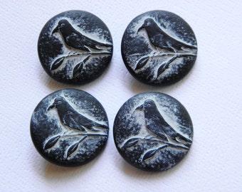 Raven Black Bird-4 Molded Shank Buttons