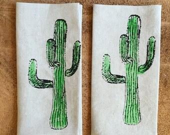 Screen Printed Cactus onto 100% Natural Linen Tea towel, Hostess Gift, Wedding Gift