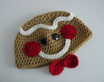 Gingerbread man baby hat crochet