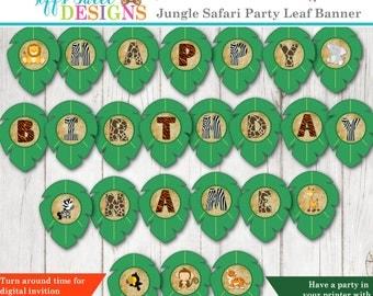 Safari Happy Birthday Banner with name - Jungle Birthday Banner - Personalized - Custom