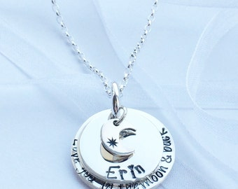 Stacked necklace | Love you to the moon, |crescent moon charm | hand stamped | birthday gift | christmas gift | everyday wear | personalized