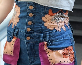 Handmade customised denim highwaist shorts embellishments