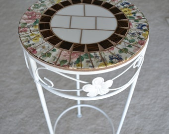 Broken China Mosaic Table Plant Stand Garden Art