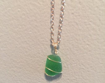 Handmade Sea Glass Necklace in Green and Gold
