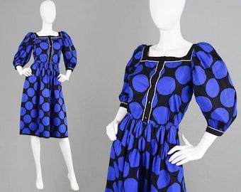 Vintage 80s LOUIS FERAUD Puff Sleeve Dress Black and Blue Large Polka Dot Dress Midi Dress Big Sleeves French Designer Cotton Evening Dress