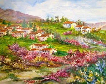 Acrylic and Watercolor Painting Art, Original painting, Wall art, Glances from the Greek province, Landscape Art