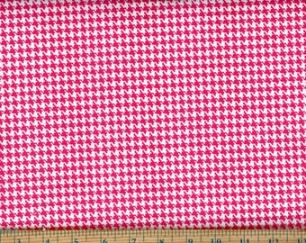Happy Houndstooth Shocking PinkCotton Quilting Sewing Fabric, BTY #419-3