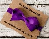 Purple Headband, 3 Inch Hair Bow, Purple Hair Bow, Newborn Headband, Infant Headband, Baby Headband, Bow Headband, Headband with Bow
