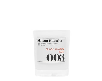 Black Bamboo & Lily Soy Candle. Hand-poured. 15 hr burn time.