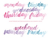 Watercolor Brush Calligraphy Days of the Week - Hand-painted watercolor digital clip art PNG & vector