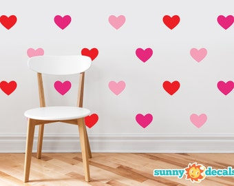 Heart Fabric Wall Decals - Set Of 23 Hearts - Custom Options Available - Non-Toxic, Reusable, Repositionable - Sunny Decals