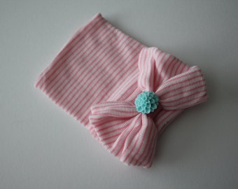 Pink and White Stripe Newborn Beanie Hospital Hat, Baby Girl, Cotton, Aqua Flower Embellishment, Baby Keepsake