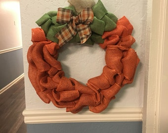 Burlap pumpkin wreath, pumpkin wreath, fall wreath