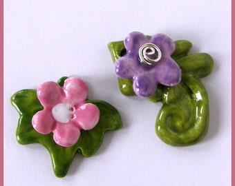 Ceramic floral pendants