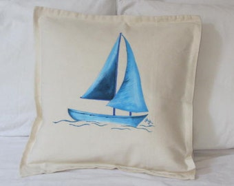 Hand Painted Sailing Boat Throw Pillow - OOAK Hand Painted Cushion - Decorative Sailing Boat Pillow - Nautical Accent Pillow