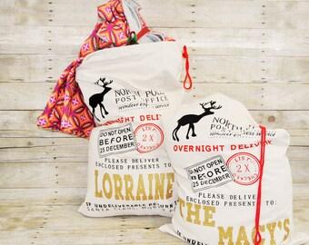 Personalized Santa Sack, Personalized gift bag, childs gift bag, christmas Tote, Canvas Tote, Holiday Bag, Holiday Sack, Santa Sack