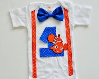 FLASH SALE Finding Nemo Birthday onesie,Nemo birthday shirt, nemo cake smash, boy birthday shirt, nemo smash cake,first birthday shirt