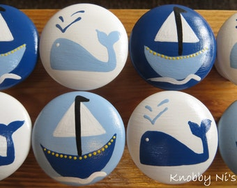 Nautical Theme Hand Painted Drawer Knobs / Dresser Pulls - Set of Eight - Whale and Boat
