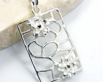 Floral Motif Black Onyx & .925 Sterling Silver Pendant , S471