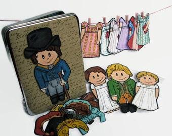 Pride and Prejudice Magnetic Paper Doll Set, Elizabeth Bennett and Mr. Darcy doll set, Jane Austin Magnets