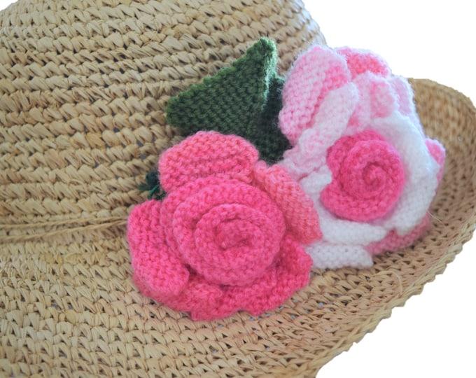 Flower knitting pattern, knitted roses, knitting pattern for roses, knitted flowers, rose decoration, knitted rose, knitted leaves