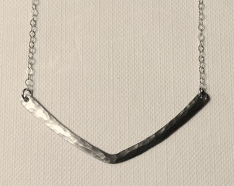 Black and Sterling Silver Chevron Necklace with Ombré Patina