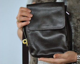 Vintage PICARD men's leather messenger bag...(296)
