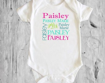 Girls's Name Collage Personalized White onsie Snap bottom all in one bodysuit