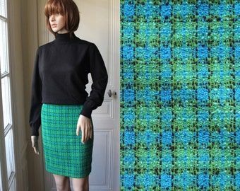 DISCOUNT // Pencil skirt green TWEED high waist mini skirt checkered green blue black 70s vintage skirt chic secretary winter miniskirt - S