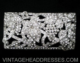 Art Deco Paste Brooch, Authentic Vintage 1920's Brooch, Floral Rhinestone Brooch, Paste Brooch, Wedding, Bridal, Diamante, Pave, Rectangular