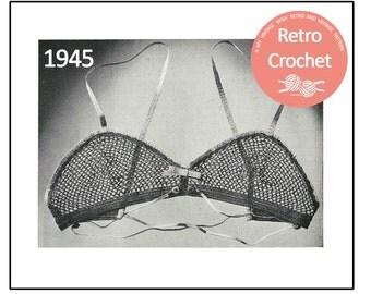 1940s  Crochet Brassiere  Pattern - PDF Crochet Pattern - PDF Pattern - Instant Download