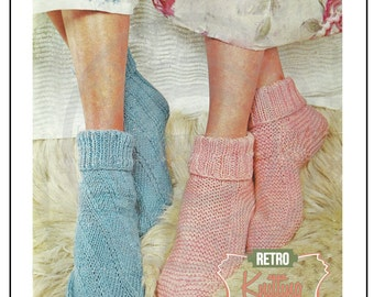 1950s Bed Socks Vintage Knitting Pattern - Instant Download