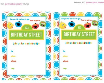 Sesame Street Invitations Ready to go, Just fill in info, set of 8 with envelopes-made of card stock