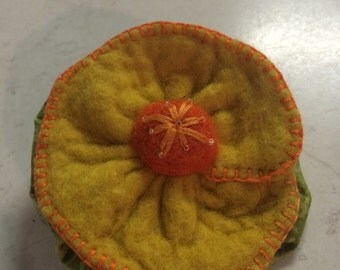 Hand Felted Yellow Flower Brooch
