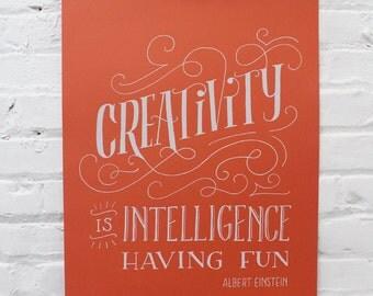 Einstein Screen Printed Poster