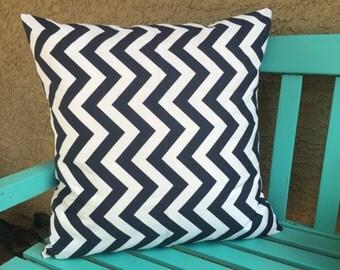 Navy Chevron Pillows - Navy Throw Pillow Cover