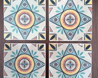 Moroccan tile coasters