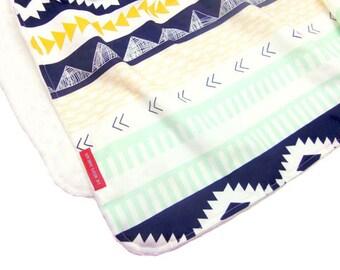 Minky Baby Blanket in Navy Aztec - Designer fabric Minky Baby Blanket - tribal, arizona, southwestern, native american, indian, geometric