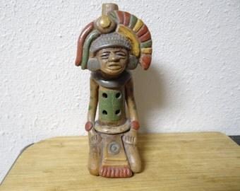 Aztec/Mayan Clay Flute/Whistle,Mexican Folk Art,Art & Collectible,Mexican Pottery,Folk Art, Mexican Souvenir,Mayan Warrior,Flute,Hand Made