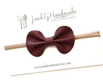 Baby/Child/Girl's Genuine Leather Burgundy Wine Hair Bow Headband or Hair Clip, Nylon Bow Headband, Girls Modern Leather Bow