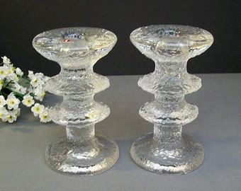 Vintage 1960's Iittala Finland Glass – Pair of FESTIVO Candleholders by TIMO SARPANEVA – Two Ring – Tagged and Signed - Candle Sticks -