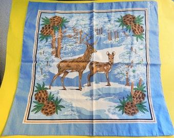 "21"" x 22"" Buck + Deer Scarf/Bandana/Tablecloth/Hankerchief/Wall Decor/Pillow Cover/Many Uses!"