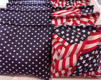 8 ACA Regulation Cornhole Bags - Red White and Blue USA Flags & Blue and White Stars
