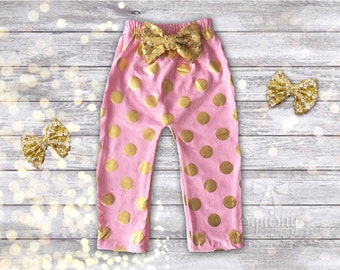 Baby Leggings, Baby Girl Clothes, Pink Baby Pants, Baby Girl Pants, Pink and Gold Pants, Sized 0m-2T, Birthday Pants