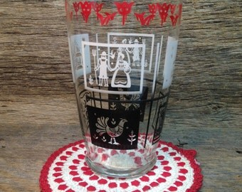 Vintage Tall Drinking Glass, Country Farm Scenes, Black, White, Red.
