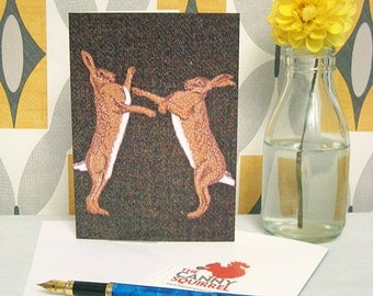 Boxing hares card - boxing hare birthday card - boxing hare greetings card - blank card - rabbit card - hare card - hare anniversary card