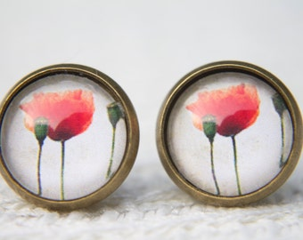 Poppy Earrings, Red Poppies, Flowers, Floral, Red Flowers, Stud Earrings, Small Studs, Post Earrings, Glass Dome Earrings