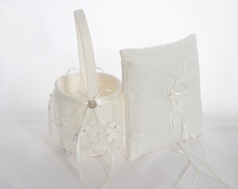 Ivory or White Flower Girl Basket And Ring Bearer Pillow
