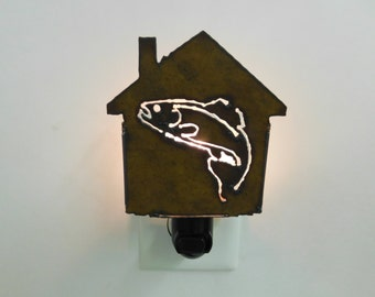 Trout Nightlight image cut out of rusted metal